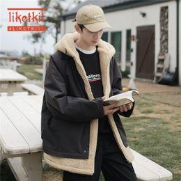 Wholesale korean parka coat men resale online – Liketkit Men Winter Jackets Mens Solid Fake Two Pieces Thick Lambswool Parkas Male Korean Fashions Streetwear Hooded Coats