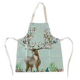 $enCountryForm.capitalKeyWord Australia - Cute Cartoon Deer Cotton Linen Apron Kitchen Restaurant Cooking Bib Apron Cooking Baking Restaurant 2019 New Hot