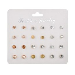 $enCountryForm.capitalKeyWord UK - 12 Pairs set Stud Earrings Set With Card Transparent Crystal Balls Imitation Pearl Earrings Women Female Jewelry