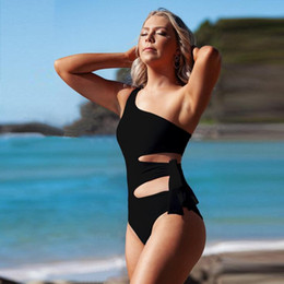 Wholesale black high waisted one piece online – High Waisted Cut Out Bathing Suit Women One Piece Swimming Suit for Women Black Bandage Swimsuit Plus Size Swimwear Womens Monokini UK6