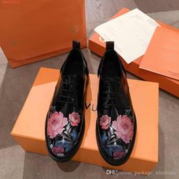 American Leather Shoes Australia - fashion women Ladies black peony print dress shoes European and american style genuine leather women shoes business leather shoes