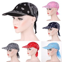 Discount gold color print scarves - Womens Visor Hat Sunhat Printed Head Scarf Keep Warm Candy color multi-function warm sunscreen with cap cotton print hea