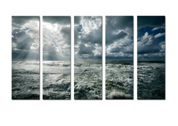 $enCountryForm.capitalKeyWord Australia - Large 5 Panel Modern Beach Canvas Print Surf Ocean Wave Seascape Painting Art Wall Home Decor Picture Contemporary For Living Room ASet219
