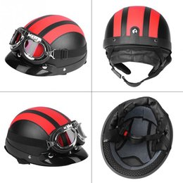 Leather Half Motorcycle Helmets Australia - Universal Motorcycle Scooter Synthetic Leather Open Face Half Helmet Visor UV Goggles Black Red White Blue Pink
