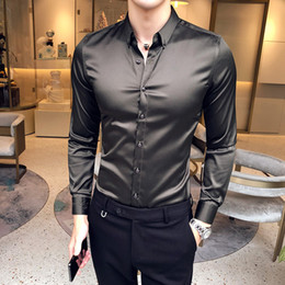 Wholesale slim fit high collar shirts resale online – High Quality Men Shirt Dress Autumn Long Sleeve Mens Casual Shirts Turn Down Collar Slim Fit Men s Shirt Male Plus Size XL