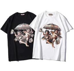 Umbrella men black online shopping - 2019 Women New clothes Plaid Umbrella Cupid Print Short Sleeve Cotton Loose Men and Women Couple Short Sleeve T Shirt