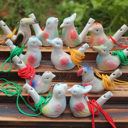 ceramic whistles wholesale NZ - Creative Water Bird Whistle Clay Bird Ceramic Glazed Song Chirps Bathtime Kids Toys Gift Christmas Party Favor Home Decoration DBC BH2700