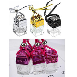China Cube Car Perfume Bottle Car Hanging Perfume Air Freshener For Essential Oils Diffuser Fragrance Empty Glass Bottle Gold Silver Black Colors suppliers
