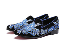 flock dress NZ - Fashion Top Men Flock Dress Shoes Mens Handmade Blue Embroidery Slip-on Loafers Men's Flats Party and Wedding Shoes 38-46
