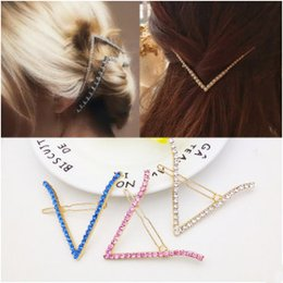 Discount v shaped hair - Fashion Woman Hair Accessoriesalloy V-shaped rhinestone hairpin alloy geometry clip card issuing Top jewelry Hairgrip Ba