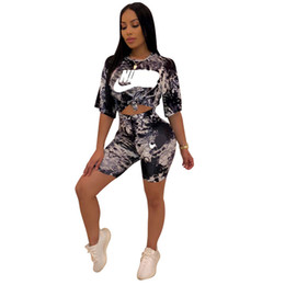 Boxes Slimming UK - Fashion Designer Women NK Letter Summer Two Piece Outfits Tie-Dyed Print Crop Top T-shirt + Shorts Sets Tracksuits Casual Streetwear C61103