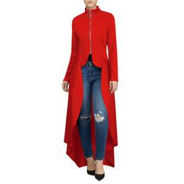 Cardigan Dresses UK - Spring Clothing High Street Long Sleeve Stand Neck Long Dress Women Zipper Cardigan Loose Irregular Dress Elegant Green Red T5190613