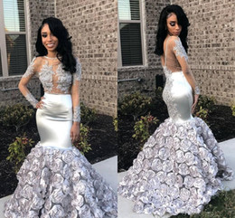 Silver Beaded Wrap Australia - Sexy Silver See Through Prom Dresses 2019 Lace Appliqued Illusion Long Sleeve Beaded Satin Mermaid 3D Rose Flowers Prom Evening Wear Gowns