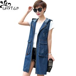 $enCountryForm.capitalKeyWord Australia - UHYTGF Spring autumn denim vests for women Fashion hooded sleeveless vest waistcoat temperament loose5XL plus size jeans vest 62