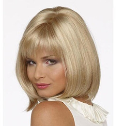 blonde wig full bangs Australia - Popular Blonde hair Straight Short Bob Wig With Bangs For Women Synthetic High Heat Fiber Wigs Full Lace Wig Senior Silk Mix Length