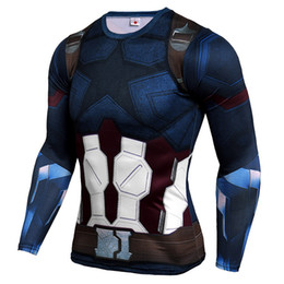 Sleeved gym ShirtS online shopping - GYM D Printing High Strength Tight fitting Captain America Sweat sweating Fast drying Men s Sports and Fitness Long sleeved T shirt