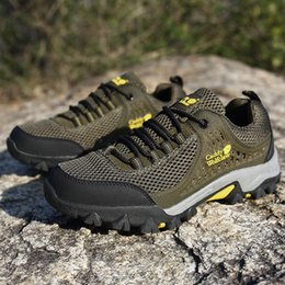 Camp Shoes For Men Australia - 2018 Men Trekking Shoes Rubber Outsole Outdoor Sports Hiking Camping Tactical shoes Boots For Men Non-slip Breathable Casual Shoes 39-48