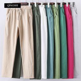 $enCountryForm.capitalKeyWord Australia - 13 Colors Womens Pants New Cotton Linen Summer Pants Trousers Elastic High Waist Korean Capris Lightweight Harem Pants Plus Size MX190714