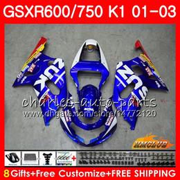 Großhandel 8Gifts Körper für SUZUKI GSXR750 GSXR 600 750 GSXR600 01 02 03 4HC.0 GSXR600 K1 GSX R750 GSXR750 2001 2002 2003 Verkleidungs-Kit Neue Fabrik blau