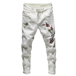 Wholesale embroidered ankle jeans for sale - Group buy Men Ripped Embroidered Jeans Pants Fashion Distressed Denim Trousers With Flower Embroidery Ankle Length Size