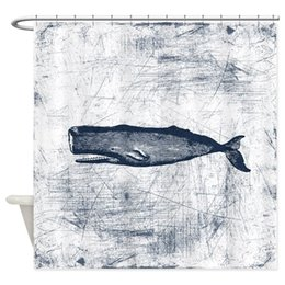 China Vintage Whale Dark Blue Decorative Fabric Shower Curtain cheap fabric shower curtain blue suppliers