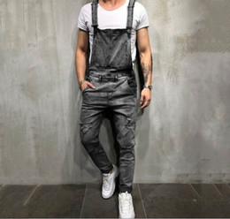 Overalls For Mens Australia - 2019 Hot sale Fashion Mens Ripped Jeans Jumpsuits Street Distressed Hole Denim Bib Overalls For Man Suspender Pants Size S-3XL