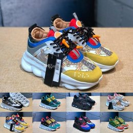 Mens gold link flat chain online shopping - Hot Sale Chain Reaction Luxury Designer Sneakers Mens Chain linked Trainers Lightweight Womens Outdoor Runner Lovers Casual Shoes