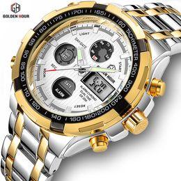 Dual Luxury Watches Australia - GOLDENHOUR Luxury Men Classic Business Quartz Watch Mens Fashion Dual Display Stainless Steel Wristwatches Waterproof Male Clock