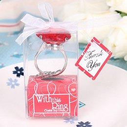 Crystals Souvenir Australia - ring 1pc Diamond Ring Souvenirs Romantic Engagement Wedding Favors Crystal Keychain Wedding Party Decoration