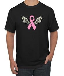 $enCountryForm.capitalKeyWord NZ - Pink Ribbon Angel Wings Cancer Survivor Mens Tshirt free shipping high quality New Short Sleeve tee Shirts Printing Tees Chinese Style