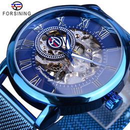 ultra thin slim watch Australia - Forsining New Arrival Blue Mechanical Watch Mens Casual Fashion Hand Wind Ultra Thin Slim Mesh Steel Belt Sports Watches Relogio