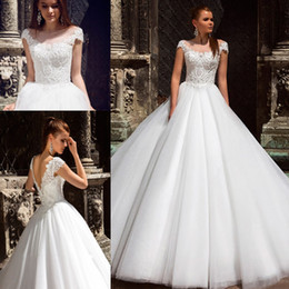 Wholesale beads embroidery necklines resale online - 2020 Luxury Wedding Dress Scoop Neckline with Elegant Beading Pearls On Chest Boho Bridal Dress Customize Size