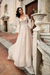 $enCountryForm.capitalKeyWord UK - Graceful Arabic Garden Wedding Dresses Long Flare Sleeves Sheer Neck Sexy Open Back Court Train Wedding Dress Beach Lace Tulle Bridal Gowns