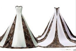 Camo Wedding Dresses Cheap Australia - Elegant Camo Wedding Dress Cheap Plus size Sweetheart 2018 A line Corset Back Beaded Applique Big Train Bridal Gowns For Wedding
