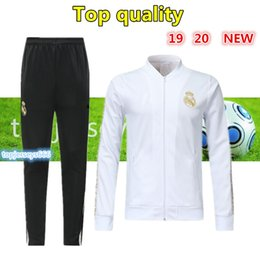 BreathaBle man pants online shopping - 2020 New Real Madrid soccer training suit full zipper tracksuit kit RONALDO MODRIC BALE MARCELO ISCO real madrid football jacket pant
