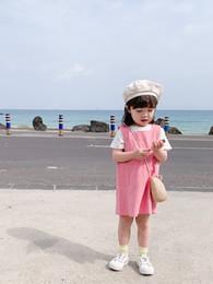 Mini satin cheongsaM online shopping - Children s wear girls dress new summer children s strap dress foreign trade cotton baby A word skirt