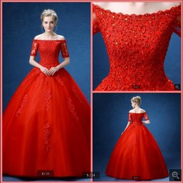 $enCountryForm.capitalKeyWord NZ - Robe de Mariage red lace appliques ball gown wedding dresses short sleeve off the shoulder sexy beaded sequins bride gowns best selling