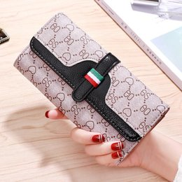 multi color note wallet UK - sales brand women handbag classic printed long wallet multi-functional leather women wallet small fresh contrast color wallet in hand
