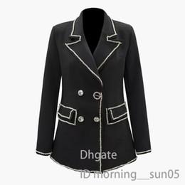 $enCountryForm.capitalKeyWord Australia - Womens small suit jacket fashion stitching diamond suit female color lapel split long-sleeved slim loose jacket female