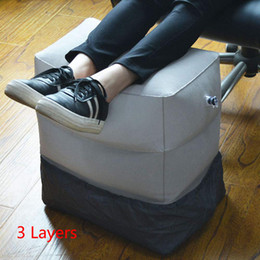 airplane bags NZ - Travel Inflatable Foot Rest Pillow Adjustable Height Portable Legs Rest Cushion Carrying Bag Airplane Home Car Office Foot Y200103