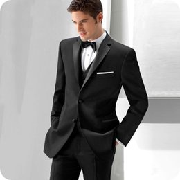 $enCountryForm.capitalKeyWord Australia - Custom 2019 Black Men Suits Slim Fit Wedding Tuxedos Groom Wear 3 Pieces (Jacket+Pants+Vest) Business Prom Suits Best Man Blazer