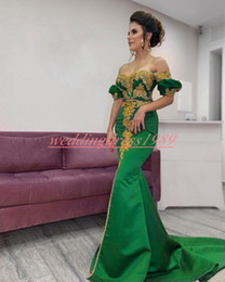White dress prom online shopping - Sexy Two Pieces Evening Dresses Mermaid Gold Applique Green Plus Size African Celebrity Formal Party Satin Sequins Prom Dress Pageant Gowns
