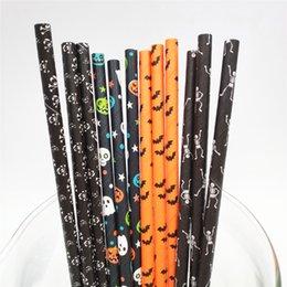 Venta al por mayor de serie de Halloween 3 6 * 197mm 2000 pajitas de papel Piezas ecológico biodegradable compostable para la decoración del partido de Halloween del truco o pisar!