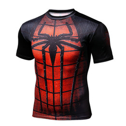 $enCountryForm.capitalKeyWord Australia - Black Superman Spider-Man 3-D Cycling Fast-drying Sports Breathable Short-sleeved T-shirt Men's Volleyball T-shirt Compression Tight Garment