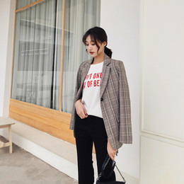 Office blazers online shopping - Retro Single Button Plaid Women Blazers Long Sleeve Coats Chic Casual Work Office Outfit Autumn Womens Oversized Blazer