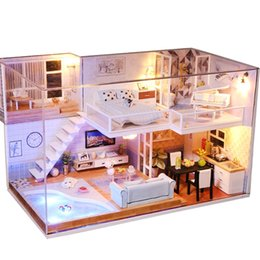 model house kit diy UK - Handmade Miniaturas Wooden Diy Doll House Miniature Dollhouse Furniture Handcraft Model Kits Box Puzzle Toys For Children Gift MX200414