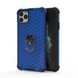 impact clear case iphone NZ - Shockproof Honeycomb Shockproof Phone Case for iPhone 11 Pro Max with Car Holder Ring Armor Impact Clear Phone Cover