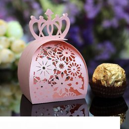 wedding cake small boxes NZ - 50pcs wedding lace cut Crown flower beautiful hollow candy box small cake carton crown box gift package party decoration