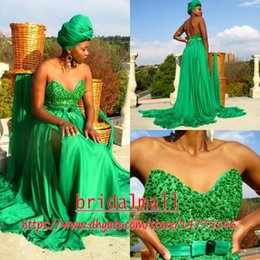 Vintage black eVening gown online shopping - Beading Pearls Green Lace Arabic Prom Dresses Sweetheart Chiffon Africa Formal Evening Gowns Sexy Side Slit Long Party Dress Bridesmaid