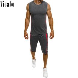 Discount tank hombre - Vicabo 2019 Men Jogging Tracksuit Men Sportswear Two Piece Sets Slim Fit Tank Tops+Shorts Casual Track Suit Hombre